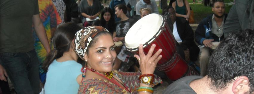 Hailemah in  drum circle Malcom X Park, Wash DC, 2012